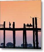 U-bein Bridge At Dawn Metal Print