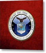 U. S.  Air Force  -  U S A F Emblem Over Red Velvet Metal Print