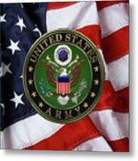 U. S. Army Emblem Over American Flag. Metal Print