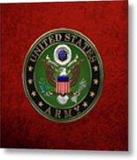 U. S.  Army Emblem Over Red Velvet Metal Print