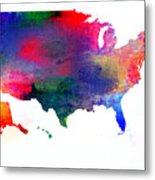 U S Map Color  Metal Print