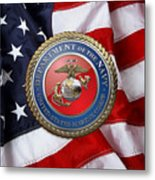 U. S. Marine Corps - U S M C Seal Over American Flag. Metal Print