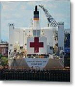U S N Hospital Ship, Comfort In Boston's Dry Dock Metal Print