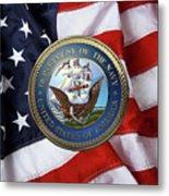 U. S.  Navy  -  U S N Emblem Over American Flag Metal Print