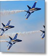 U S Navy Blue Angeles, Formation Flying, Smoke On Metal Print