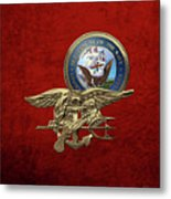 U. S. Navy S E A Ls Trident Over Red Velvet Metal Print