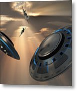Ufos And Fighter Planes In The Skies Metal Print
