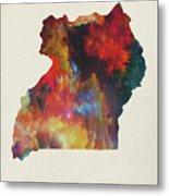 Uganda Watercolor Map Metal Print