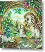 Ugly Duckling - Dragon Baby And Owls Metal Print