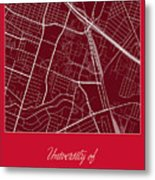 Uh Street Map - University Of Houston In Houston Map Metal Print