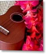 Ukulele And Red Flower Lei Metal Print