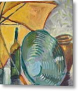 Umbrella And The Bottle Metal Print
