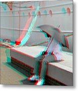 Umbrella Man - Use Red-cyan 3d Glasses Metal Print