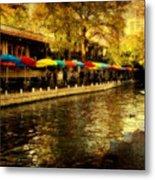 Umbrellas In The Riverwalk Metal Print by Iris Greenwell