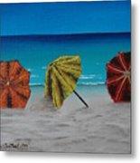 Umbrellas On The Beach Metal Print