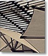 Umbrellas Sepia Metal Print