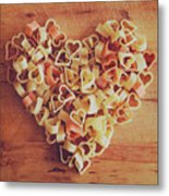 Uncooked Heart-shaped Pasta Metal Print by Julia Davila-Lampe