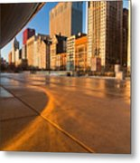 Under The Bean And Chicago Skyline At Sunrise Metal Print