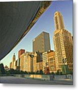 Under The Bean And Chicago Skyline Metal Print