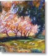 Under The Blossom Trees Sold Metal Print