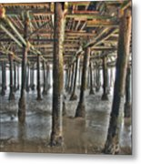 Under The Boardwalk Pier Sunbeams  Metal Print
