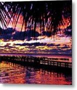 Under The Palms Sunrise Metal Print