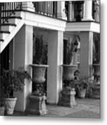 Under The Steps In Savannah - Black And White Metal Print