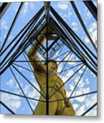 Under The Tulsa Driller - Oklahoma Iconic Statue Metal Print