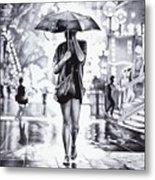 Under The Umbrella - Ballpoint Pen Art Metal Print