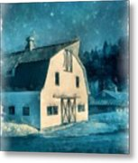 Under The Vermont Moonlight Watercolor Metal Print