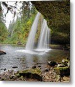 Under Upper Butte Creek Falls In Autumn Metal Print