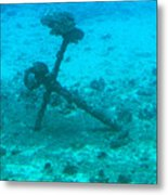 Underwater Anchor Metal Print