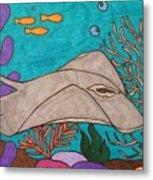 Underwater Stingray Metal Print