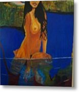 Underwater Woman Metal Print
