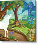 Unicorn And Dragon And Fairies And Elves - Illustration #9 In The Infinite Song Metal Print