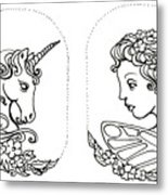 Unicorn And Fairy Cameo Set Metal Print