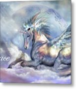 Unicorn Of Peace Card Metal Print