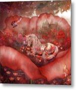 Unicorn Of The Poppies Metal Print