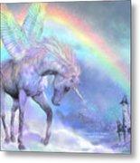 Unicorn Of The Rainbow Metal Print by Carol Cavalaris