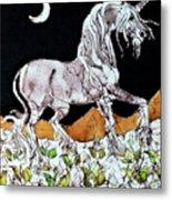 Unicorn Over Flower Field Metal Print
