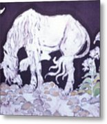 Unicorn Pauses Metal Print