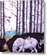 Unicorn Rests In The Forest With Fox And Bird Metal Print