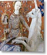 Unicorn Tapestry, 15th C Metal Print