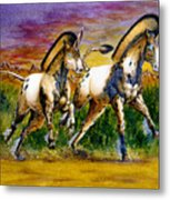 Unicorns In Sunset Metal Print