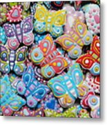Unique Colorful Honey Cookies , Butterfly Shaped  Metal Print