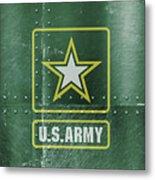 United States Army Logo On Green Steel Tank Metal Print