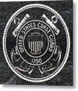 United States Coast Guard Emblem Polished Granite Metal Print