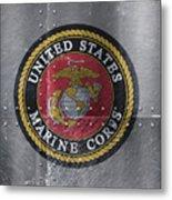 United States Marines Logo On Riveted Steel Metal Print