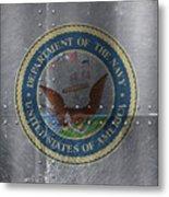 United States Navy Logo On Riveted Steel Boat Side Metal Print
