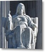 United States Supreme Court, The Contemplation Of Justice Statue, Washington, Dc 3 Metal Print